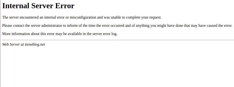 internal server error 500