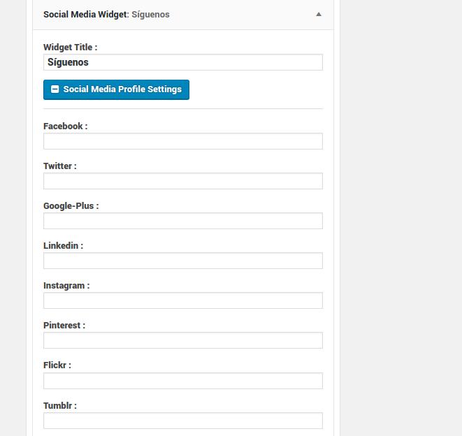 configuracion social profiles